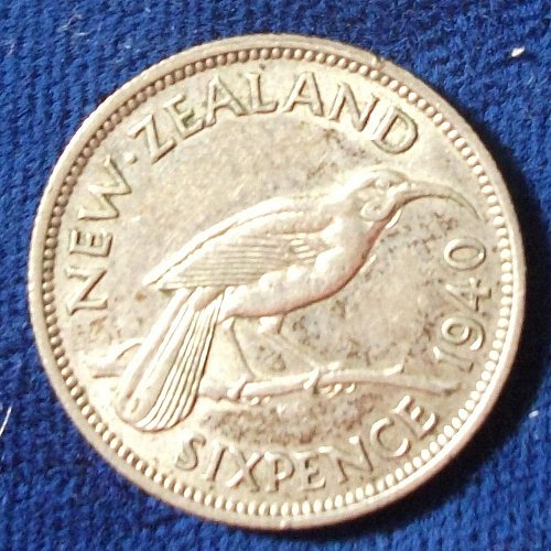 1940 New Zealand Sixpence XF