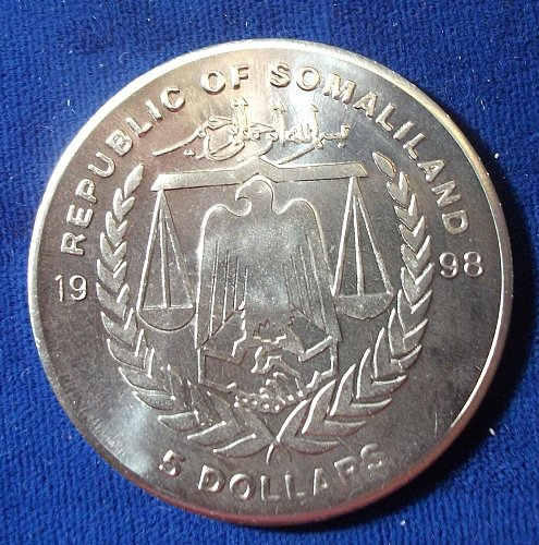 """1998 Republic of Somalialand $5 BU """"Titanic"""""""