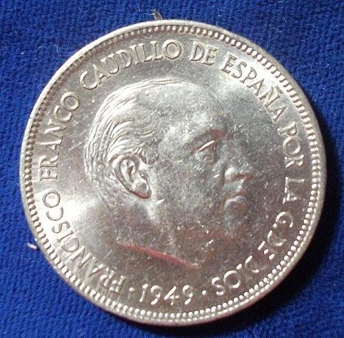 1949(50) Spain 5 Pesetas AU