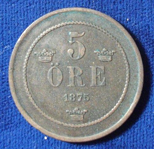 1875 Sweden 5 Ore Fine+