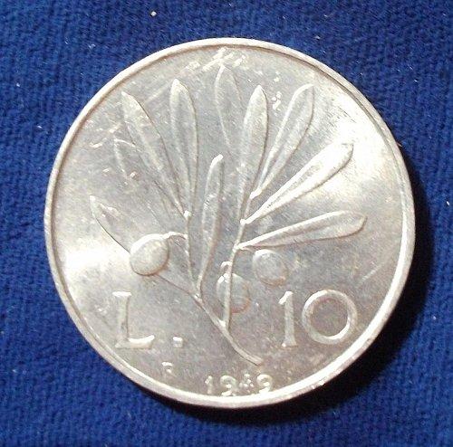 1949 Italy 10 Lira AU