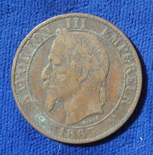 1863K France 5 Centimes VF