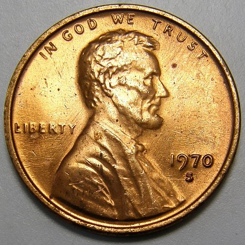 1970 S Lincoln Memorial Cent #7 Small Date