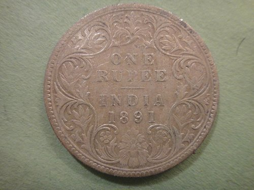 INDIA 1 Rupee 1891-B Very Fine Details-Cleaned 91.7% SILVER 0.3437 ASW KM#492