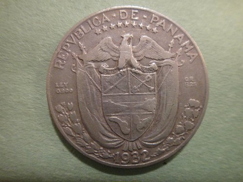 PANAMA 1/4 Balboa 1932 Fine-15 90% SILVER 0.1808 ASW KM#11.1