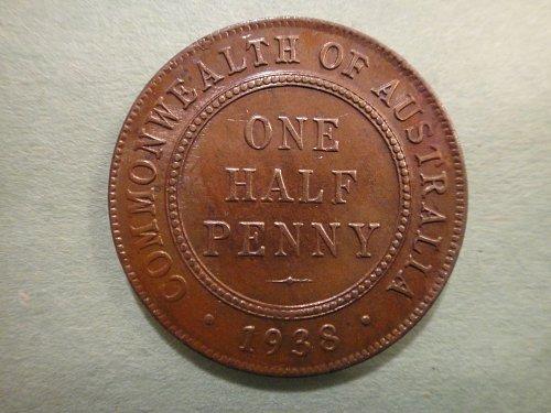 AUSTRALIA Half Penny 1938-M MS-63 (Choice BU) RB- (More Brown Than Red) KM#35