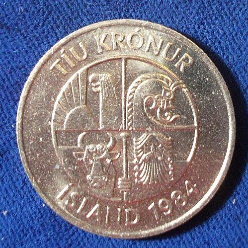 1984 Iceland 10 Kronur BU
