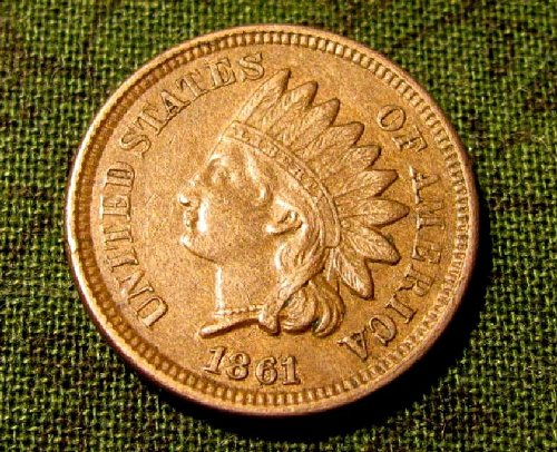 1861 Copper Nickel Indian Head cent  sharp  choice coin  A-23