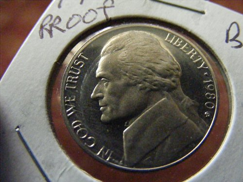 1980 S Jefferson Cameo Proof Nickel Coin.