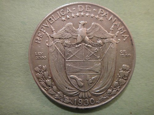 PANAMA 1/2 Balboa 1930 Extra Fine-40 90% SILVER 0.3617 ASW KM#12.1