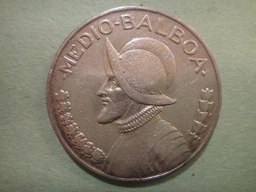 PANAMA 1/2 Balboa 1934 (RARE DATE!) Very Fine-20 90% SILVER 0.3617 ASW KM#12.1
