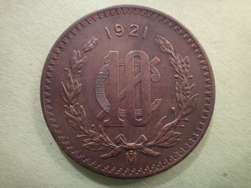 MEXICO 10 Centavos 1921 Extra Fine-45 Nice Rich Chocolate Brown & Obvious Rev Lu