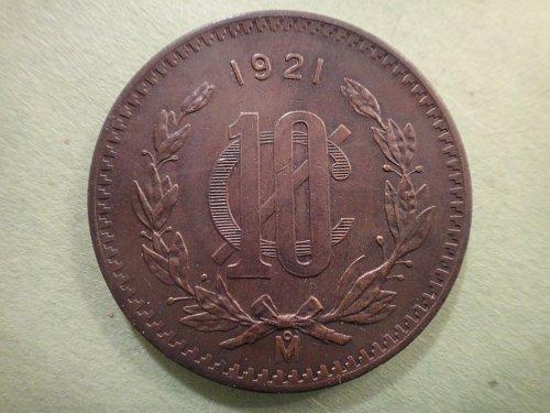 MEXICO 10 Centavos 1921 Extra Fine-45 Nice Rich Chocolate Brown & Obvious Rev Lu