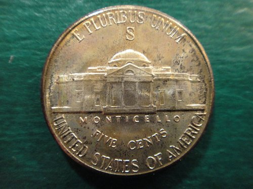 1943-S Jefferson Nickel MS-65 (GEM) 3 Steps With AWESOME Cherry & Blue Reverse!
