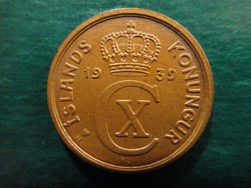 ICELAND 1 Eyrir 1939-H N-GJ Large 3 MS-65 (GEM) KM#5.1 Nice Tan Copper Color!