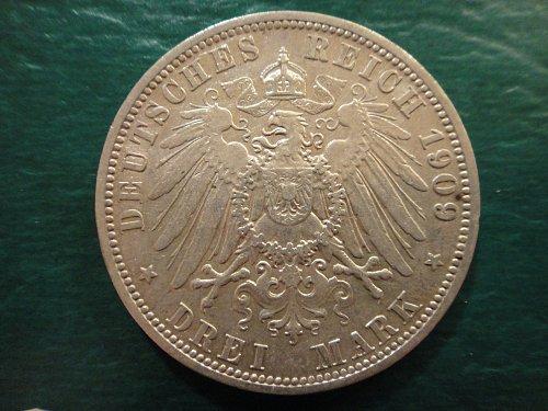 PRUSSIA 3 Marks 1909-A Extra Fine-40 90% SILVER 0.4823 ASW KM#527