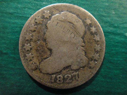 1827 Bust Dime Very Good-8 Nice Original Darker Coin Silver Patina!