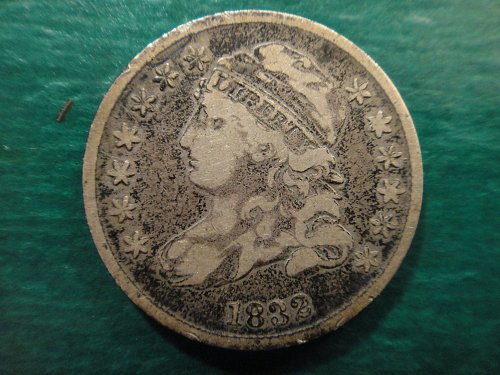 1832 Bust Dime Fine-12 Nice Original Darker Silver Tone Especially on Reverse!