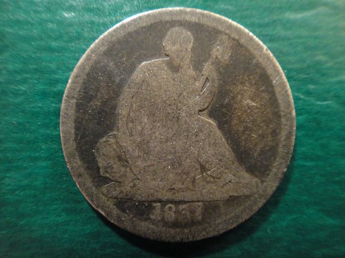 1837 Large Date Seated Liberty Dime Nice Original Dark Silver Tone!