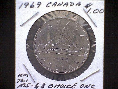 1969 CANADA ONE DOLLAR COIN  VOYAGEUR REVERSE