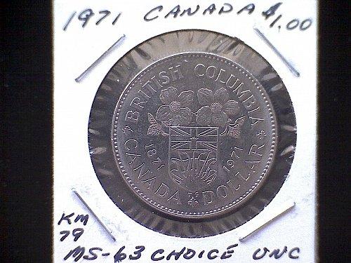 1871 - 1971 CANADA ONE DOLLAR COIN   BRITISH COLUMBIA CENTENNIAL COMMEMORATIE RE