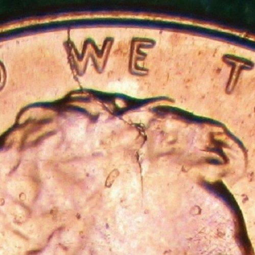 2014 P Lincoln Cent Obverse Die Break