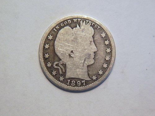 1897-S Silver Barber Quarter