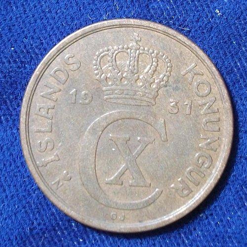 1931 (h) N-GJ Iceland 5 Aurar VF