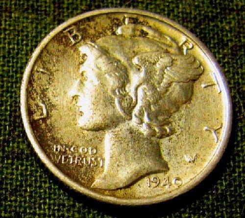 1940 S sharp AU near Full Bands  Dime + 1 FREE Merc. A-28