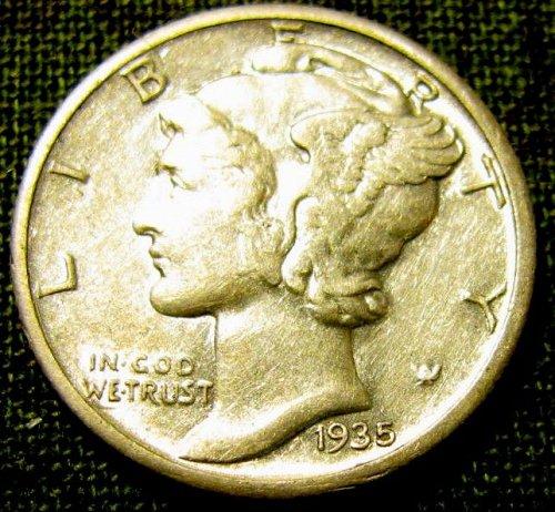 1935 S Mercury Dime  choice near FULL Bands +1  FREE MERC! & FREE S/H///   A-37