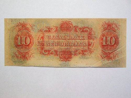 1800s $10 Canal Bank of New Orleans Bill