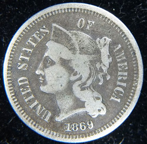 1869 3 Cent Nickel VG or Better