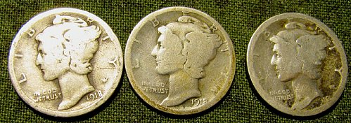 1918 P,D, & S mercury Dimes    A-43 Reduced 12%