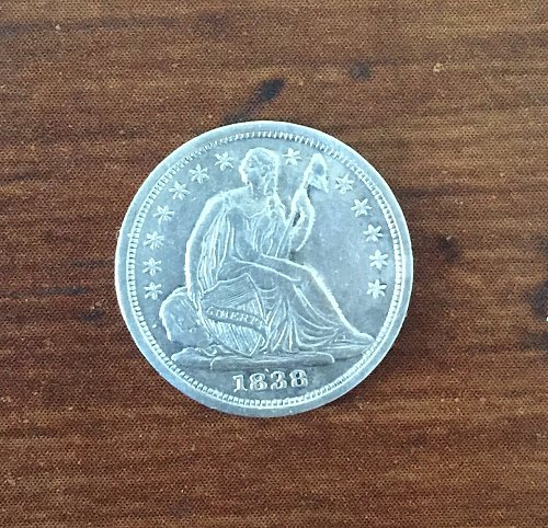 AU58 1938 SMALL STARS SEATED LIBERTY HALF DIME *Rare* On Sale Price! NO RESERVE!