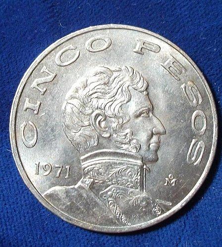 1971 Mexico 5 Pesos BU