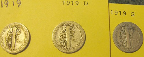 1919 P, D, & S Mercury Dimes + 2 more FREE!!   A-47