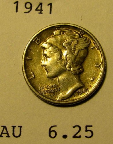 1941 choice Mercury Dime  AU   plus     A-21