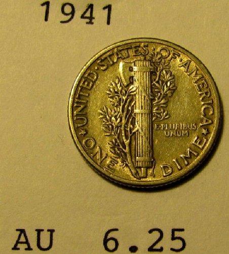 1941 choice Mercury Dime  AU   plus     A-21