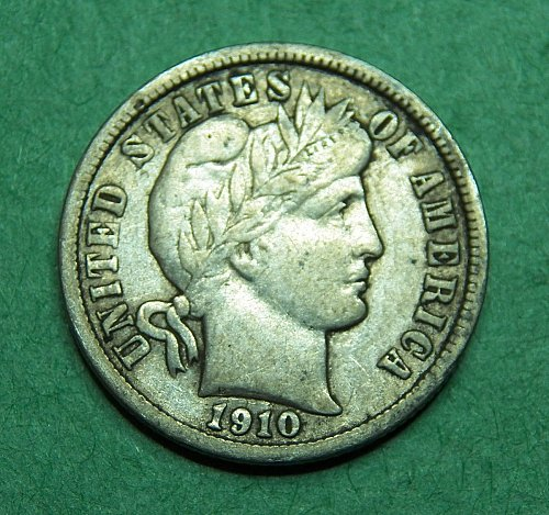 1910 D Barber Dime Very Fine Coin   d04