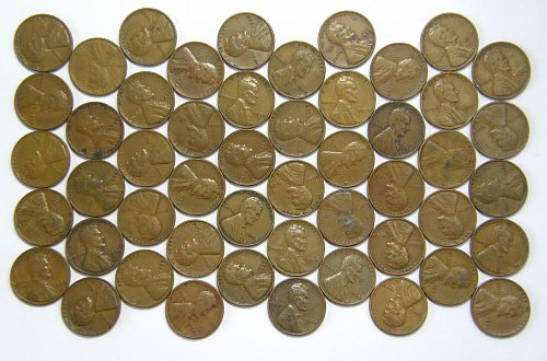 1938 P Lincoln Wheat Cent ROLL 50 Coins F12= $14.50