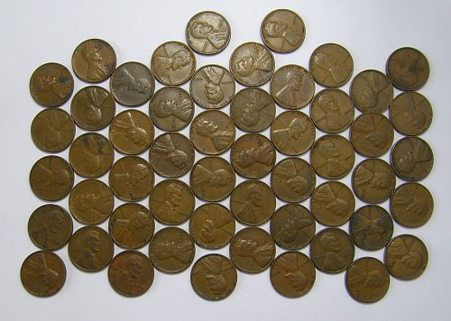 1939 P Lincoln Wheat Cent ROLL 52 Coins, F12= $9.88