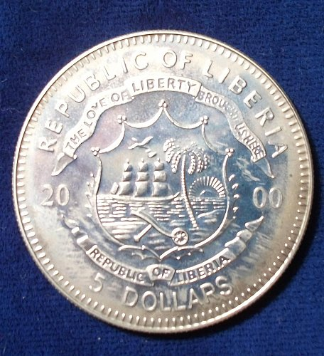 2000 Liberia 5 Dollars  BU Pearl Harbor Commemorative