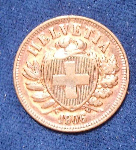 1906B Switzerland 2 Rappen AU, Stunning