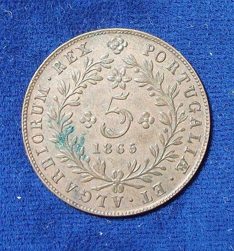 1865 Azores 5 Reis XF