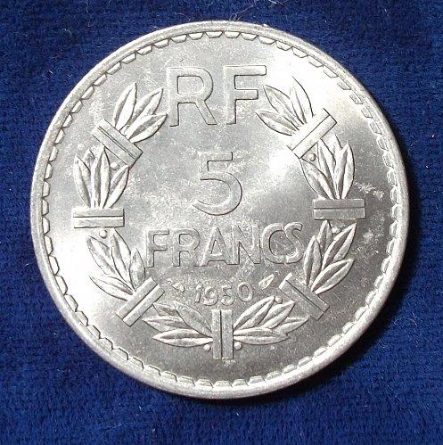 1950 (a) France 5 Francs BU