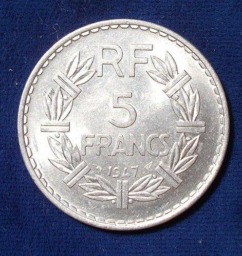 1947 (a) France 5 Francs AU