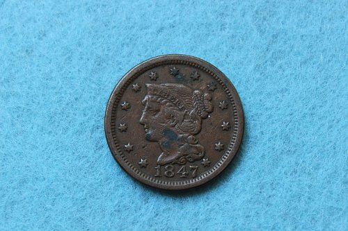 1847 P Braided Hair Liberty Head Large Cent: Normal Date