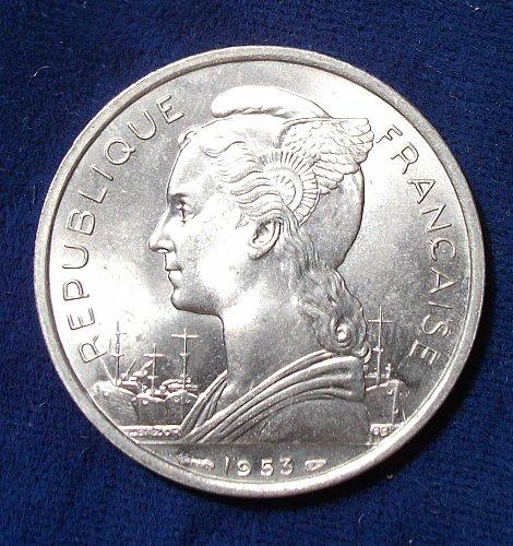 1953 Madagascar 5 Francs BU