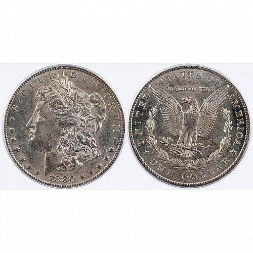 1880 CC $1 Morgan Silver Dollar - AU