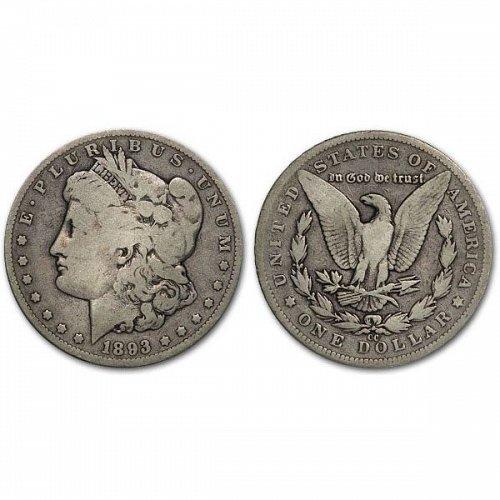 1893 CC $1 Morgan Silver Dollar - VG